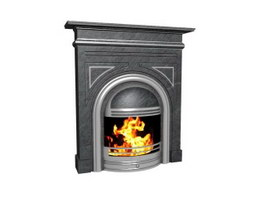 Elegant Carving Marble Fireplace 3d model