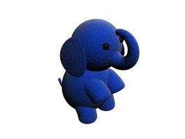 Stuffed plush elephant toy 3d model