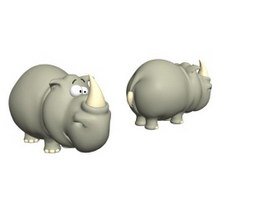 Cartoon toys natural animal rhino 3d model