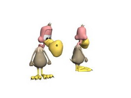 Soft cartoon toy bird 3d model