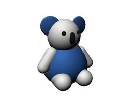 Plastic animal toy cartoon bear 3d model
