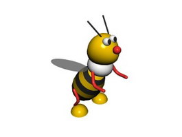 Plastic toys cartoon bee 3d model