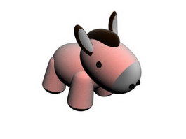 Plush Toy Cartoon Animal Donkey 3d model