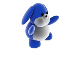 Plush and soft cartoon toy dog 3d model