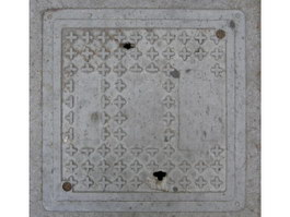 Dirty steel sewer cover texture