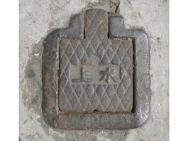 Ancient cast iron sewer cover texture