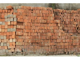 Neatly arranged red clay bricks texture