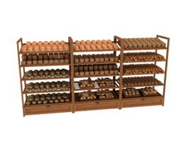 Wood Bakery Display Shelf 3d model