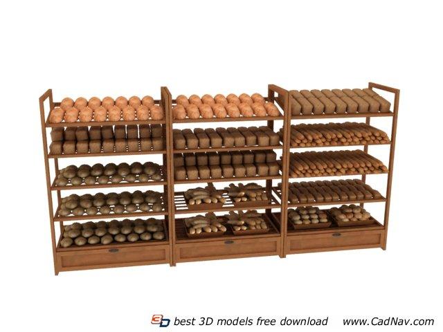 Wood Bakery Display Shelf 3d Model 3DMax Files Free Download Modeling 7458 On CadNav