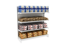 Supermarket Shelf and Breads 3d model