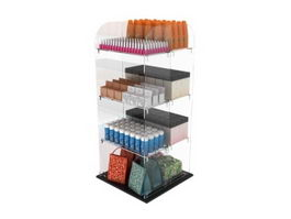 Acrylic Display Rack and Beauty Products 3d model