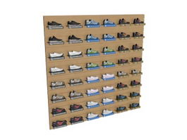 Wall mounted shoes display stand rack 3d model