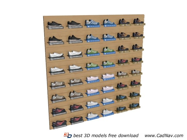 Wall Mounted Shoes Display Stand Rack 3d Model 3dmax Files Free