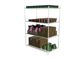 Supermarket Metal Display Shelf 3d model
