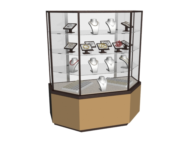 glass jewelry display cabinet 3d model 3dmax files free