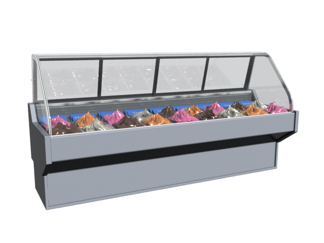 Ice cream display refrigerator 3d model