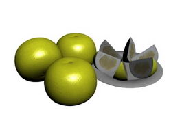 Orange and Fruit Tray 3d model
