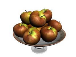 Apples and Fruit Tray 3d model