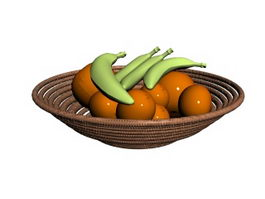 Bananas and Rattan Fruit Tray 3d model