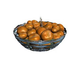 Oranges in Bamboo Fruit Bowl 3d model