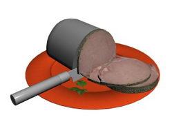 Pork Chop & Dinner Plate 3d model
