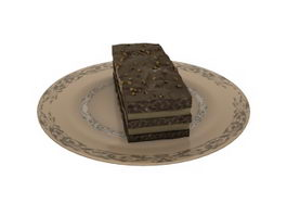 cheesecake and cake plate 3d model