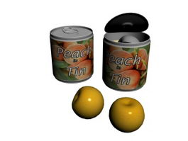 Canned peach 3d model