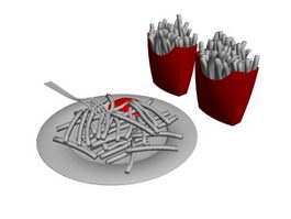 French fries and Dinner Plate 3d model