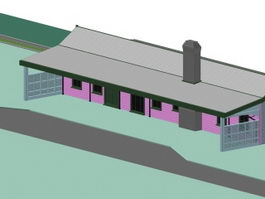 Railway freight station 3d model
