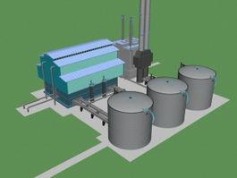 Chemical factory building 3d model