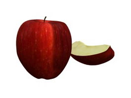 Red delicious apple with slice 3d model