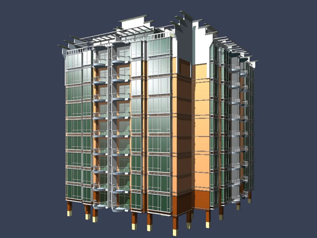 High rise dwelling building 3d model 3dsmax files free for Build house online 3d free