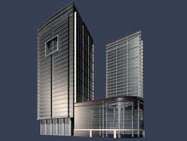 Office buildings and skyscraper 3d model