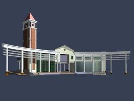 Museum architecture 3d model