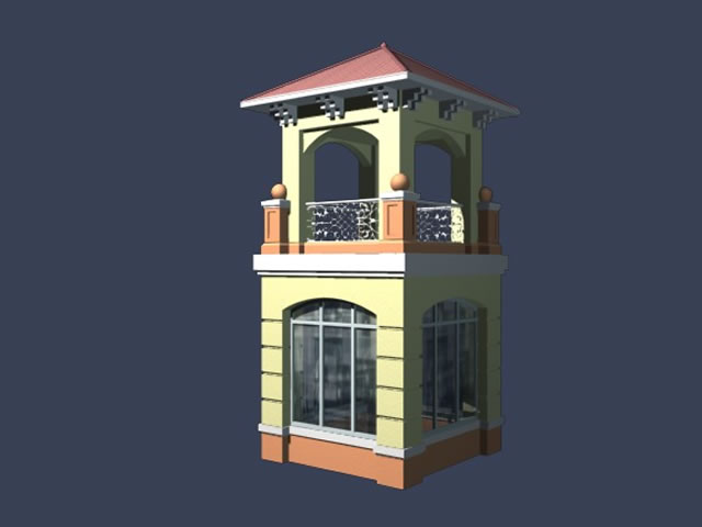 Entrance guard room 3d model 3dsMax files free download modeling