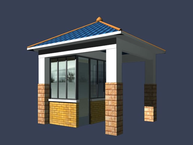 Guard house building 3d model 3dsmax files free download 3d model house design