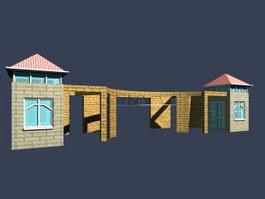 Entrance door and guard room 3d model