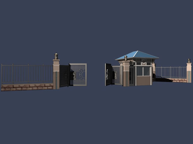 Gate and the guard room 3d model 3dsMax files free download