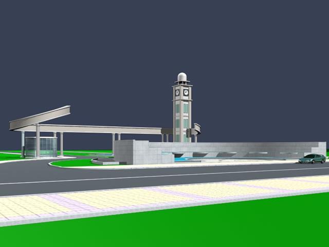 Entrance Gate 3d Model Factory Gate Building 3d Model