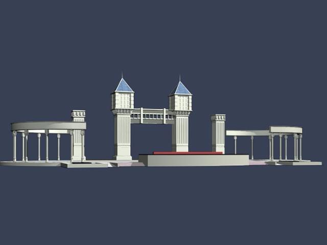 Entrance Gate 3d Model Entrance of The School Gate 3d