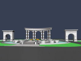 Park entrance square 3d model