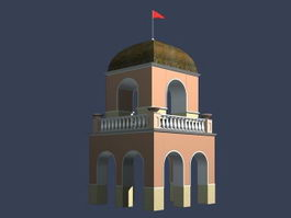 Guard tower and gate 3d model