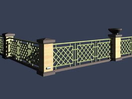 Fence along the river 3d model