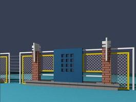 Fence building 3d model