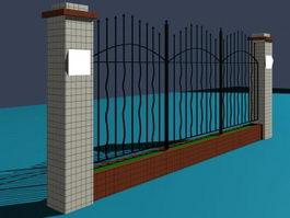 Park iron fence 3d model