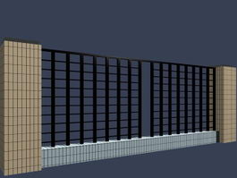 Metal fences with cement pillars 3d model