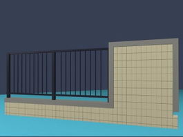Metal and cement fence wall 3d model