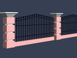Iron fence for courtyard 3d model