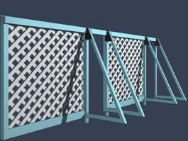 Portable fence for works area 3d model