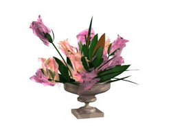 Artificial flowers and vase texture